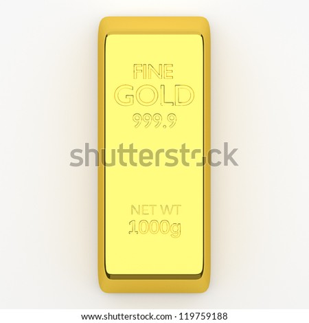 3d render of gold bar, for wealth or investment concepts. - stock photo