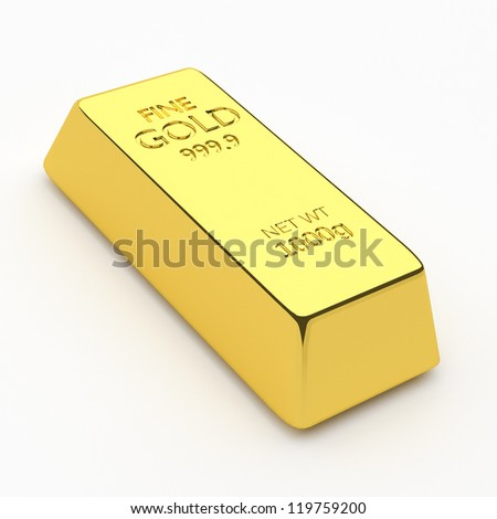 3d render of gold bar, for wealth or investment concepts.