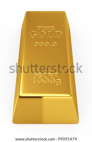 3d render of gold bar isolated on white  background - stock photo