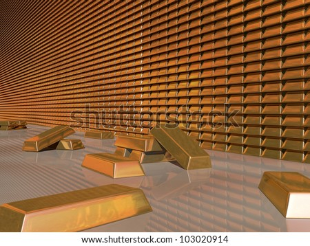 3d Render of Gold Bullion Vault - stock photo