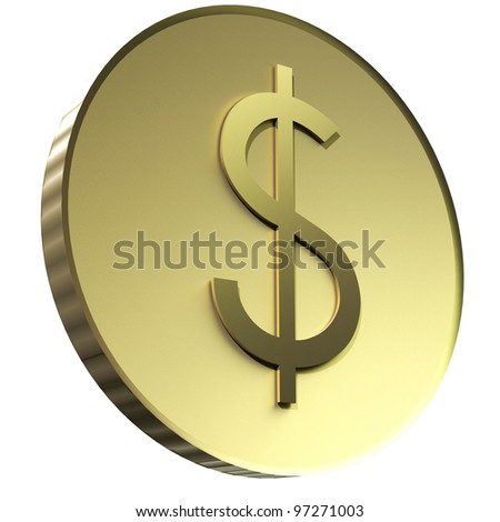 3d render of gold dollar coin currency