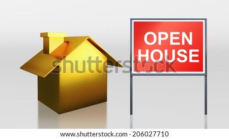 3d render of gold house for open house - stock photo