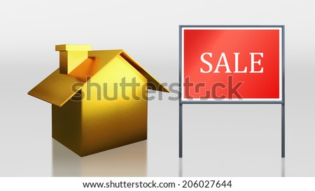 3d render of gold house for sale - stock photo