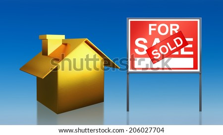 3d render of gold house sky for sale sold - stock photo
