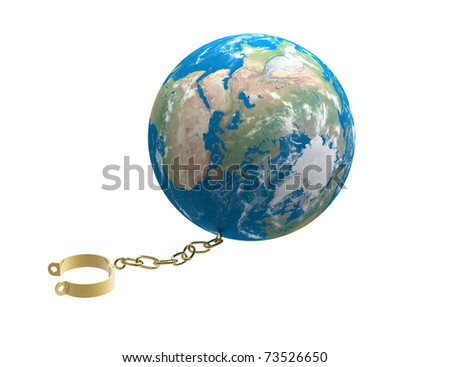3d render of  gold shackles chained to globe - stock photo