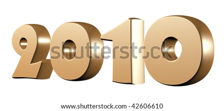 3d render of 2010 gold text isolated over white background - stock photo