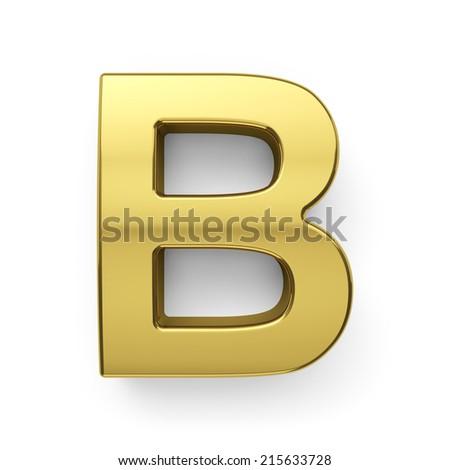 3d render of golden alphabet letter symbol - B. Isolated on white background - stock photo