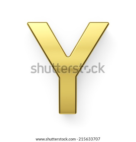 3d render of golden alphabet letter symbol - Y. Isolated on white background