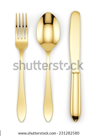 3d render of golden fork, spoon and knife isolated on white background  - stock photo