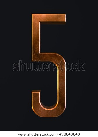 3d render of golden metal dirty rust scratch alphabet letter symbol - 5 five. Alphabet character on the dark background