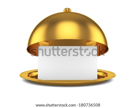 3d render of golden opened cloche with paper template, isolated on white background  - stock photo