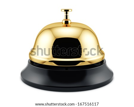 3d render of golden reception bell isolated on white background. Service concept