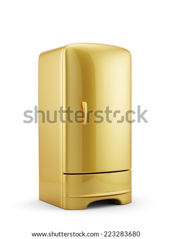 3d render of golden refrigerator isolated on white background - stock photo