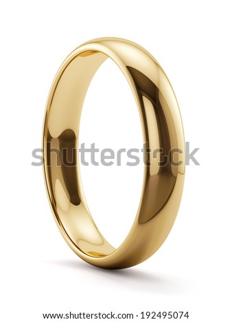 3d render of golden ring isolated on white background - stock photo