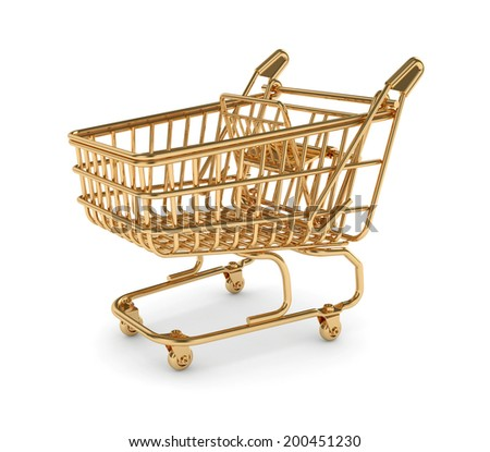 3d render of golden shopping cart isolated on white background - stock photo