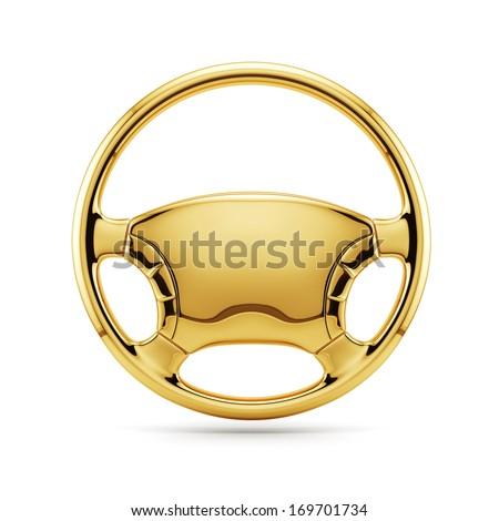 3d render of golden steering wheel isolated  - stock photo