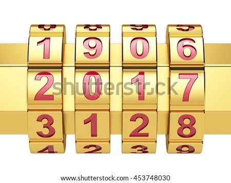 3d render of golden 2016 Year combination lock  - stock photo