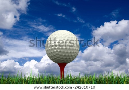 3d render of golf ball and tee on sky background - stock photo