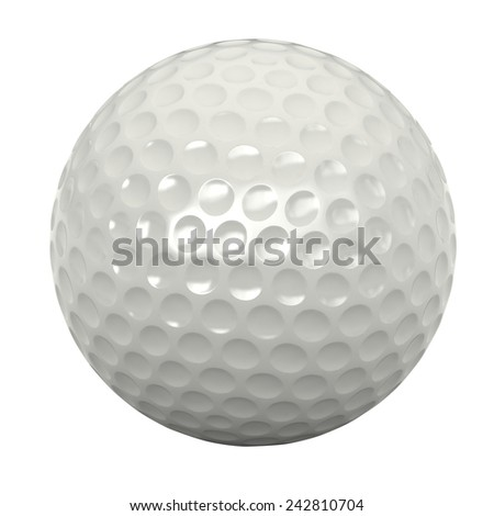 3d render of golf ball isolated over white background - stock photo