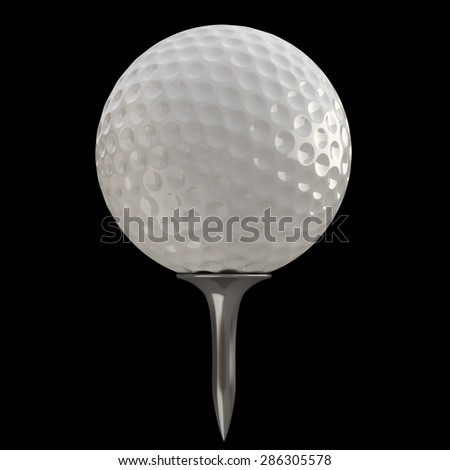 3d render of golf ball on black background. High resolution  - stock photo