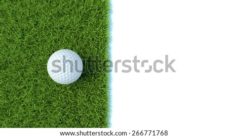 3d render of golf ball on green lawn isolated on white background