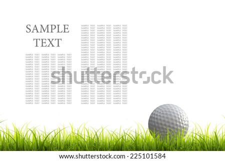3d render of golf ball on green lawn isolated on white background. High resolution  - stock photo