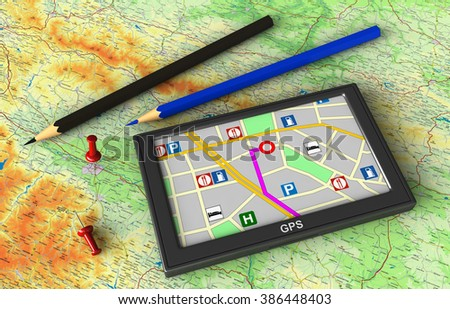 3d render of GPS navigation device on map background