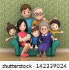 3D render of grandparents with grandchildred - stock vector