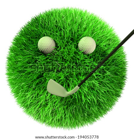 3d render of grass ball with golf Golf equipment, balls and club.