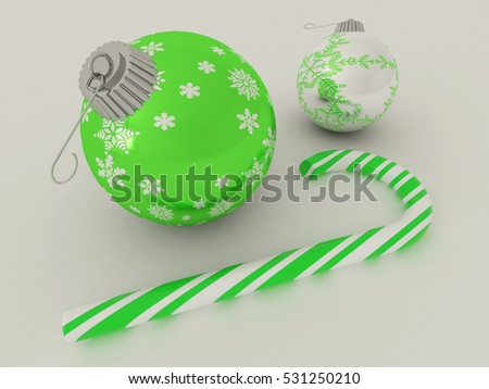 3D render of green and silver holiday decoration baubles with candy cane
