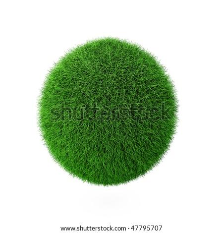3d render of green grass ball on white - stock photo
