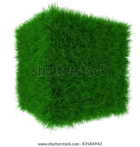 3d render of green grass cube isolated on white background - stock photo