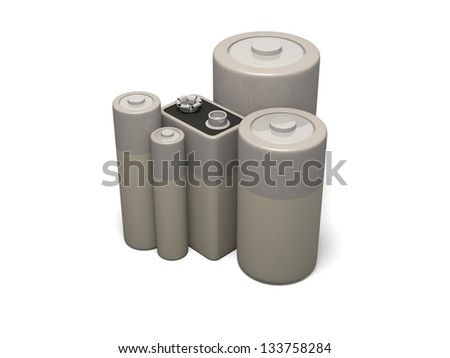 3d render of group of common battery sizes - stock photo