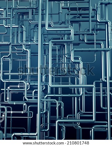 3d render of group of steel pipe abstract background - stock photo