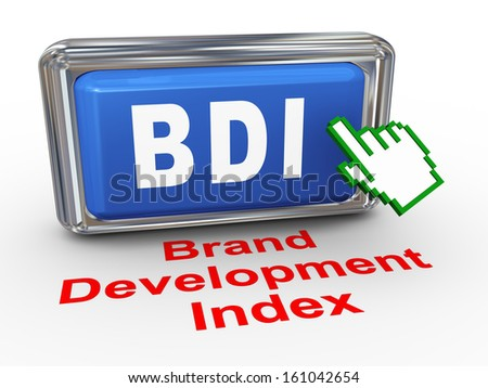 3d render of hand cursor pointer click on button with phrase bdi - brand development index