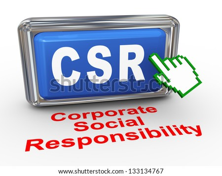 3d render of hand cursor pointer click on button with phrase csr  corporate social responsibility button