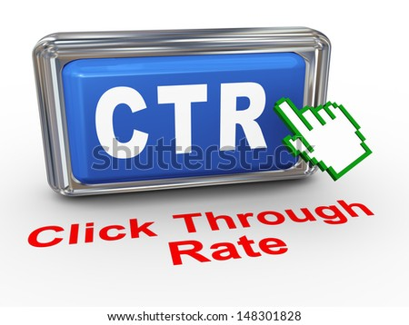 3d render of hand cursor pointer click on button with phrase ctr - cost through rate - stock photo
