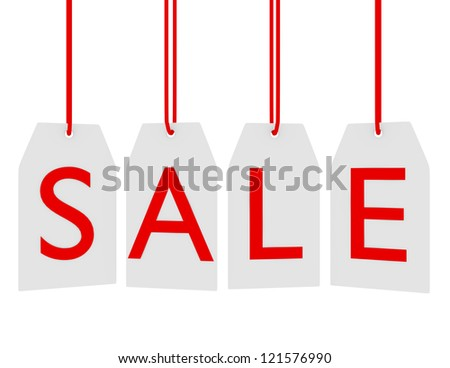 3d Render of Hanging Sale Tags Isolated on White - stock photo