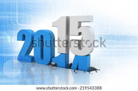 3d render of Happy new year 2015 - stock photo