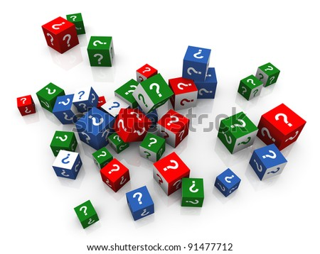 3d render of heap of colorful question marks boxes - stock photo