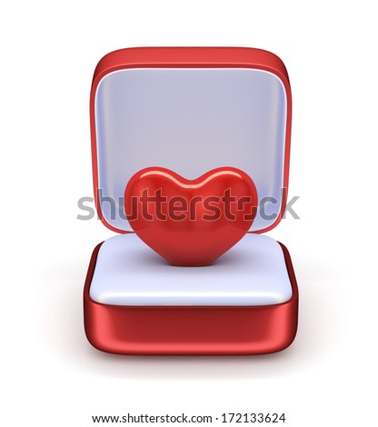 3d render of heart in the gift box. Love concept - stock photo