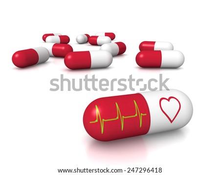 3D render of heart pills - stock photo
