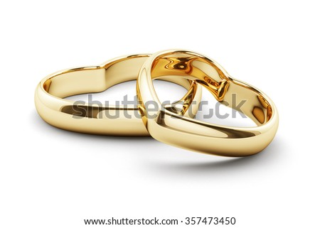 3d render of heart shaped golden rings isolated on white background  - stock photo