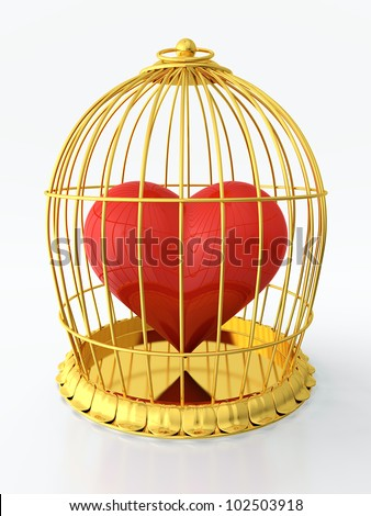 3D render of heart trapped in golden cage - stock photo
