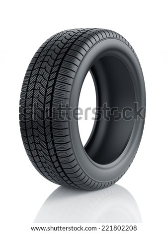 3d render of high detaled winter tyre isolated on white background - stock photo