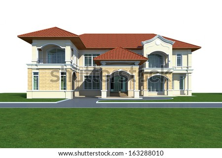 3D render of house - stock photo