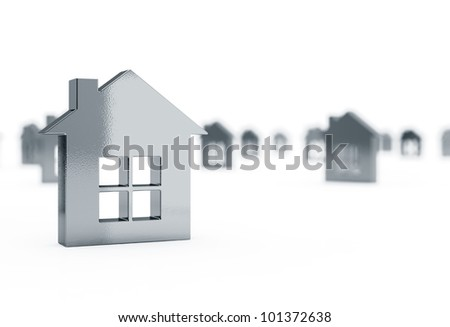 3d render of house icons conceptual background - stock photo