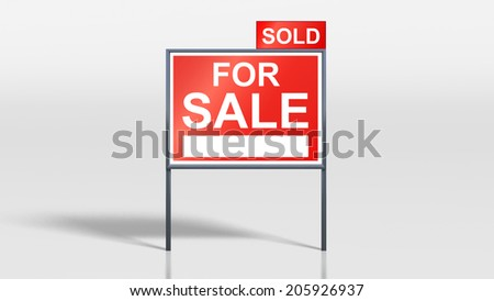 3d render of house signage stands house for sale sold