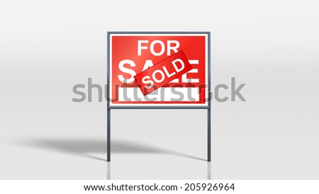 3d render of house signage stands house for sale sold on cover - stock photo