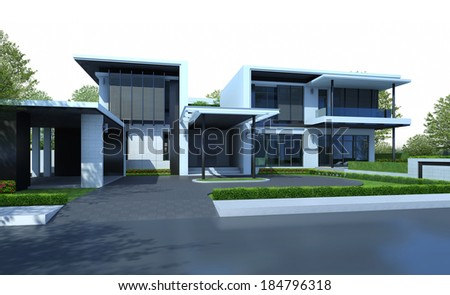 3D render of house with green area isolated on white background